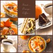 Collage dessert jelly cake coffee cup more — Stock Photo