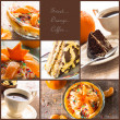 Collage dessert jelly cake coffee cup more — Foto Stock