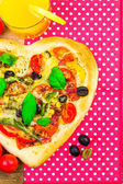 Closeup pizza cheese meat vegetables — Stock Photo