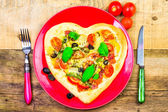 Delicious italian pizza served wooden table — Foto Stock