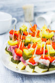 Finger foods toothpicks appetizer — Stock Photo