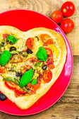 Delicious italian pizza served wooden table — Stock Photo