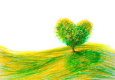 Landscape tree shape heart — ストック写真