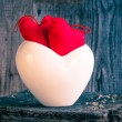 Two red hearts twig board white cup — Stock Photo #40273995