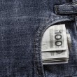 Several Polish banknotes jeans pocket — Stock Photo