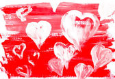 Collection painting hearts white background — Stock Photo