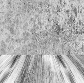 Grunge taş duvar boyalı ahşap zemin — Stok fotoğraf