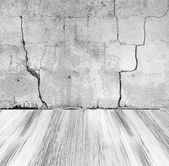 Grunge stone wall painted wooden floor — 图库照片