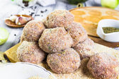 Closeup meat balls ground beef rolled breadcrumbs — Stock Photo