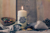 Still life elements spa candle stone — Foto Stock