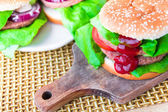 Delicious hamburger ketchup chopping board — 图库照片