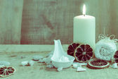 Spa wellness setting candle towel — Stock Photo