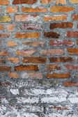 Old defense wall red bricks — Stock Photo