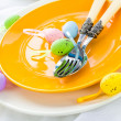 Closeup Easter place setting eggs — Stock Photo