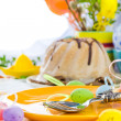 Serving Easter table cake eggs — Stock Photo