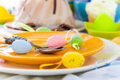 Tableware one person Easter table — Zdjęcie stockowe