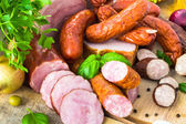 Variety meat products vegetables — Stock Photo