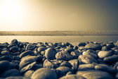Baltic beach stones blue sky — Stock Photo