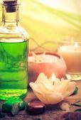 Oil massage aromatic candles stones Zen — Stock fotografie