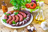 страна таблицы пластины колбаса специи — Стоковое фото