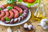 Country table plate sausage spices — Foto Stock