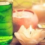 Oil massage aromatic candles stones Zen — Stock Photo #43202989