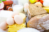 Produtos lácteos diversos alimentos pão de carne — Foto Stock