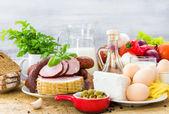 Impostare diversi alimenti dieta sana — Foto Stock