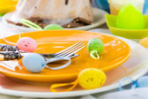 Tableware one person Easter table — Stock fotografie