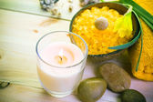 Wellness spa concept scented candle — Foto de Stock