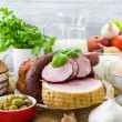Composition variety grocery products meat dairy — Stock Photo #43695665