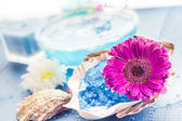 Spa concept aromatic flower bath salt — Stock Photo