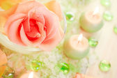 Spa components rose flower bath salt aromatic candles — Stock Photo