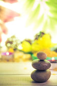 Session spa pile zen stones burning candles — Stock Photo