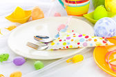 Cutlery wrapped napkin Easter table — Stock Photo