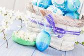 Spring mand Pasen eieren blauwe Toon — Stockfoto