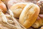 Cereali orecchie prodotti di panetteria differenti — Foto Stock