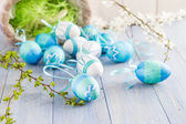 View Easter eggs spring branches — Stock Photo
