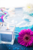 Elements spa relaxation including candles water salt bath — ストック写真