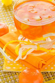 Delicious fruit jelly orange glass — Stockfoto