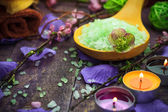 Spa setting salt bath aromatic candles — Stock Photo