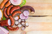 Smoked meat wooden table empty space text — Stock Photo