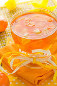 Delicious fruit jelly orange glass — Stock Photo