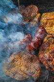 Barbecue garden process cooking meat grill — Stockfoto