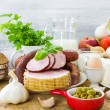 Composition variety grocery products meat dairy — Stock Photo #47113497