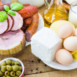 Composition variety grocery products meat dairy — Stock Photo #48468501