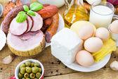 Zusammensetzung verschiedene Lebensmittel Produkte Fleisch Molkerei — Stockfoto