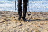 Nordic walking sport run walk motion blur outdoor person legs se — Stock Photo
