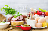 Set different foods healthy diet — Stockfoto