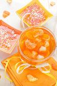 Tasty fruit jelly with slices orange — Stock Photo